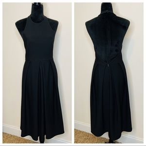 Lulu's Black Halter Open Back Fit and Flare Dress